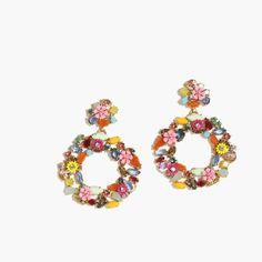 Colorful floral hoop earrings - J.Crew
