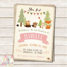 girl woodland birthday party invitation woodland party invite
