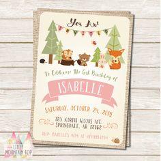 Woodland Birthday Invitation - Woodland Animal - Fox, Hedgehog, Squirrel, Beaver, Rabbit, Bunny - DIY Printable or Printed Invitation