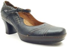 CLARKS Artisan Collection Women's Black Brown Leather Mary Janes Heel Sz 7M | eBay