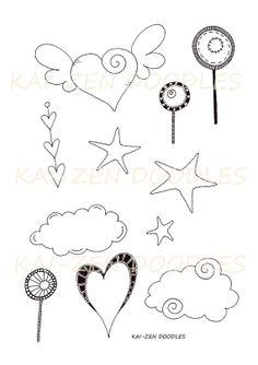 VALENTINES - PRINTABLE Digital Stamp Clipart Sheet for Cards, Scrapbooking, Collage, Art Journals