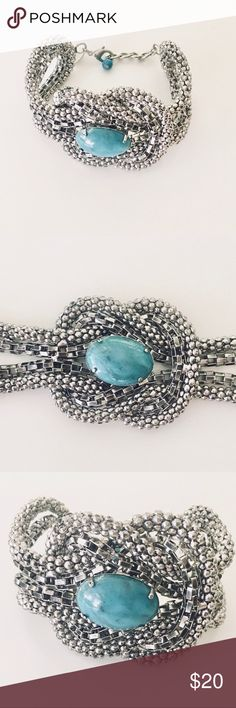 """EXPRESS Silver and Turquoise Statement Bracelet EXPRESS Silver and Turquoise Link Bracelet is the perfect accessory to complete any outfit! It has a lobster clasp closure so you can adjust it to your desired length. *LENGTH: 9"""" NEVER BEEN WORN. 📦Same/Next Day Shipping. Express Jewelry Bracelets"""