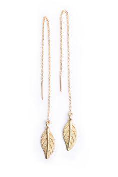 I want these Leaf thread earrings from Bohindi. #wedinspire