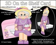 3D On the Shelf Card Kit Gossip Galz Cuppa Cake Connie on Craftsuprint - View Now!