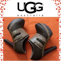 """UGG Australia illana Bootie Simply Beautiful Ugg Booties with studded detail. Genuine calf hair upper/leather and genuine sheepskin lining/rubber sole. Approx. heel height: 5"""" with 1 1/2"""" platform  Sheepskin and calf hair. Brand new without box. Orig $189. Size 7 but fit like 6.5 UGG Shoes Ankle Boots & Booties"""