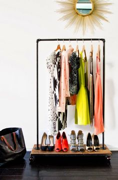 Pin for Later: Tricks For Extending a Tiny Closet DIY This Rolling Rack Hang seasonal pieces, like your most prized Summer frocks, on this DIY rolling rack. Source: Sarah Sherman Samuel via Smitten Studio Wardrobe Storage, Wardrobe Rack, Storage Room, Closet Storage, Open Wardrobe, Small Space Living, Small Spaces, Small Apartments, Diy Clothes Rack
