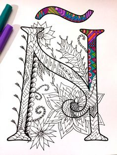 Harrington Font – Printable Zentangle Alphabet & Number Coloring Pages Alphabet Art, Letter Art, Doodles Zentangles, Zentangle Patterns, Doodle Drawings, Doodle Art, Tangle Art, Art Graphique, Your Paintings