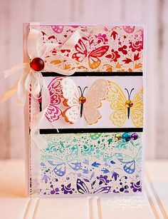 Butterflies and Water colors! - Scrapbook.com - Stunning stamping and embossing on this handmade card!