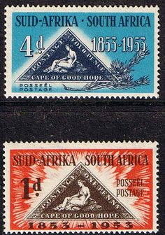 South Africa 1953 Stamp Centenary Set Fine Mint SG 144 5 Scott 198 9 Centenary of First Cape of Good Hope Stamp Other South African Stamps HERE