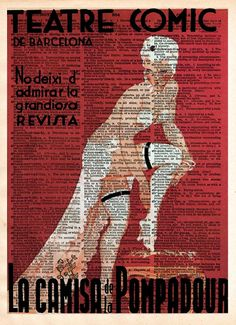 Vintage Burlesque, french cabaret poster, Burlesque art, Teatre comic de barcelona french advertising, dictionary page art print