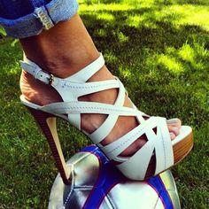 GUESS White Sandal Heels