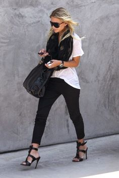 Street style scarf, heels, white tee and black pants.