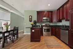 Light Kitchen Wall Colours Kitchen Features Traditional Rich Cherry  Cabinets, Light Green Walls Added On June 2016 At Write Teens