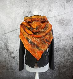 Orange Felted Scarf,  felted Shawl, Cobweb,  merino wool,  wool scarf  -Feltmondo