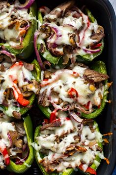 These Philly Cheesesteak Stuffed Peppers are a delicious low-carb spin on the cl.-These Philly Cheesesteak Stuffed Peppers are a delicious low-carb spin on the classic sandwich and a tasty dinner idea you can prep ahead of time! Easy Stuffed Peppers, Stuffed Pepper Recipes, Green Pepper Recipes, Philly Stuffed Peppers, Stuffed Bell Peppers Chicken, Recipes With Peppers, Stuffed Pepper Casserole, Stuff Peppers Recipe, Sausage Stuffed Peppers
