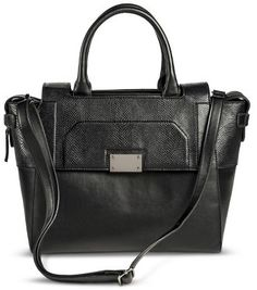 Mossimo Women's Tote Handbag with Flap Closure - Black on shopstyle.com