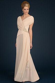 A-Linie/Princess-Linie V-Ausschnitt Bodenlang Chiffon Brautmutterkleider