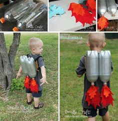 Blast off with your very own homemade jet pack! The only thing you'd really need to get is a can of inexpensive metallic spray paint and you're ready to go!