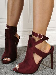 Burgundy Summer Boots Suede Peep Toe Cut Out Ankle Strap High Heel Sandal Booties - Milanoo.com Ankle Strap High Heels, Bootie Sandals, Summer Boots Outfit, Cute Sneakers, Peep Toe, Anniversary Sale, Peeps, Burgundy, Casual