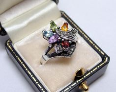 Vintage Sterling Gemstone & Marcasite Ring  Sz. by SkeeterStudios