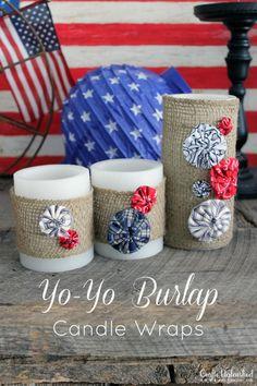 Patriotic Yo-Yo Burlap Candle Wraps from www.craftsunleashed.com