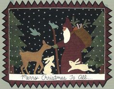 Merry Christmas to All - Primitive wool applique pattern - Wall Hanging - Bonnie Sullivan - Flannel or Wool - Penny rug Penny Rug Patterns, Wool Applique Patterns, Felt Applique, Quilt Patterns, Christmas Applique, Christmas Sewing, Christmas Pillow, Christmas Stocking, Felted Wool Crafts