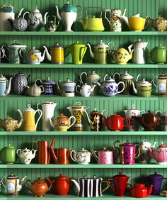 I like seeing people's displays of their colorful & varied tea pot collections, especially against a bold background.