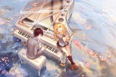 arima_kousei blonde_hair brown_hair glasses instrument kneehighs male miyazono_kawori mizukai petals piano seifuku shigatsu_wa_kimi_no_uso skirt tie water yellow_eyes