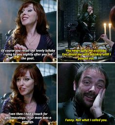 [gifset] 10x10 The Hunter Games #SPN #Crowley #Rowena now that supernatural is back imma post a lot about it.
