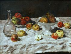 Carl Schuch, Wien 1846 - 1903 Stillleben mit Äpfeln, Birnen und einer Karaffe, ca. 1888