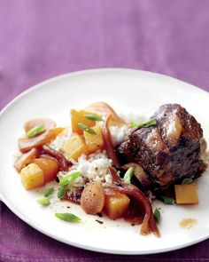 Slow-Cooker Hawaiian-Style Short Ribs with pineapple, ginger, and chili sauce