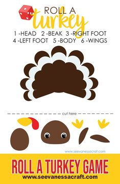 Free Printable Thanksgiving Roll A Turkey Dice Game for Kids - www.seevanessacraft.com
