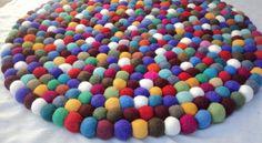 Multi Colored 50CM Ø Round Felt Balls Rug/Carpet for Home & Office use
