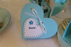 Tiffany bonboniere which doubles as a place card....by Lily and Lace....