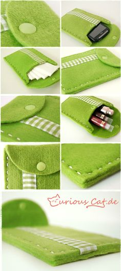 Apfelgrünes Handytäschchen
