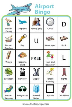 This airport bingo board is a great way to fill the time between security and boarding the plane. This is one of my kids' favorites Trip Clip Activities. You can even edit the board, and print a new one for each trip. Airplane Games For Kids, Airplane Activities, Travel Activities, Travel Themes, Bingo For Kids, Printable Activities For Kids, Travel Bingo, Bingo Board, Road Trip Games