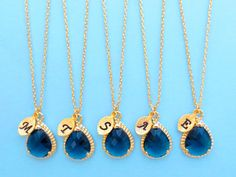 Set of 1-10 Navy Blue Initial Necklace Bridesmaid by Solistar