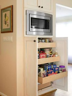 Kitchen Pantry Design Ideas – Better Homes and Gardens  pull out drawers beneath microwave