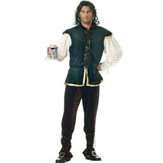 The Tavern Man Costume could be paired with the Beer Girl Costume for  great couples outfits. He has a dark green velour tunic trimmed in gold. The tunic has puffy white sleeves and brown laces up the front. Brown velour pants are also included.