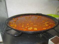 Giant pan of paella being prepared for a fiesta in La Nucia Spain