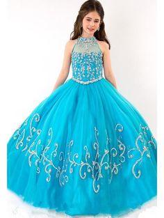 Blue Flower Girl Dress Princess Kids Pageant Party Wedding Birthday Dress Custom #DressyEverydayHolidayPageantWedding