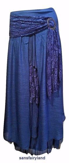 Pretty Angel Size XL Royal Blue Boho Skirt Lined Ruffles Antique Buckle *27114  #PrettyAngel #PeasantBoho