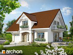 Behance :: Editing Dom w asparagusach ver. Dream House Plans, Small House Plans, My Dream Home, House Front Design, Modern House Design, Architectural House Plans, Attic Design, Tropical Houses, Design Case