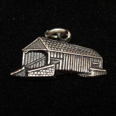 Covered Bridge Charm Vintage Sterling Silver
