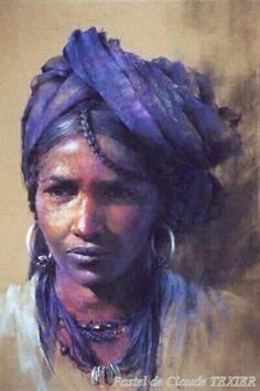 Berber tribal woman painted in pastel by Claude Texier