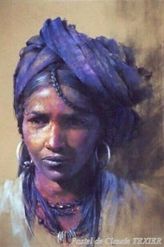 Berber tribal woman painted in pastel by Claude Texier