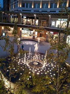 beautiful fountains creek mall salt lake city Salt Lake City, Plaza Design, Water Architecture, Entrance Lighting, Outdoor Water Features, Mix Use Building, Fountain Design, Water Element, Parking Design