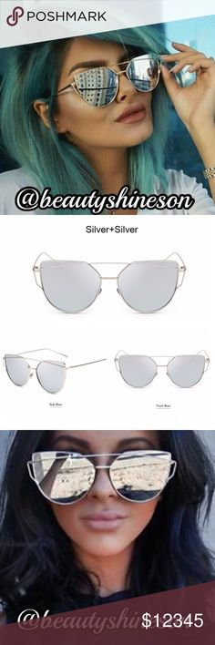 Trendy Flat Lens Metal Frame Sunnies Designer style! Wear the same look as seen on many celebrities! Trendy vintage flat mirrored sunglasses. Features a unique metal frame. Polycarbonate lens material with UV 400 protection. Silver color metal frame with silver lenses. Popular oversized look & with adjustable nose pads (adjust gently;) You're going to rock these sunnies!!  Glasses width 143mm, lens length 57mm, lens width 52mm, nose pad width 18mm, arms length 140mm. Non-polarized. Price…