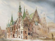 Wrocław Rathaus, 46x61cm, 2013 Plein-air Watercolour
