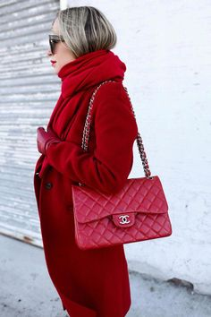 Now Arriving Rich Ruby Red Cashmere Scarf, Red Coat, Red Chanel Bag, Helena of Brooklyn Blonde Chanel Bag Red, Chanel Maxi, Chanel Shoes, Burberry Handbags, Chanel Handbags, Luxury Handbags, Designer Handbags, Prada, Brooklyn Blonde